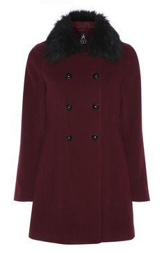 Primark - Burgundy Faux Fur Collar Pea Coat
