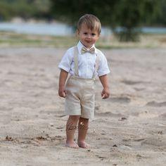 Anillo portador traje bebé niño bautismo ropa traje de lino