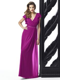 Description - Dessy Collection Style 2874 - Full length bridesmaid dress - Vneckline with ruffle cap sleeve - Matching belt at natural waist - Lux chiffon