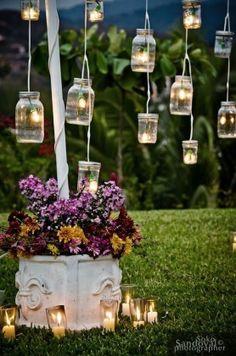 Vintage Mason Jars Outdoor Wedding Decor Ideas