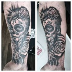 day of the dead black and grey tattoo, start of a sleeve, rose, skull face