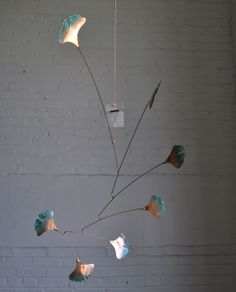 Copper Mobile  Handmade Mobile Art  W Ginkgo Leaves  by jfjones, $75.00