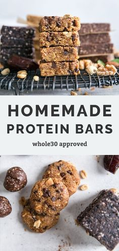 How to Make Protein Bars - 4 ways! Same healthy base recipe – change up your mix-ins. These are like copycat homemade RXBARS and the flavors are spot on! So easy to make at home. Paleo friendly and no added sugar recipes. #whole30recipes #paleoeats #rxbar #homemadebars #proteinbars #glutenfree #grainfree #cleaneating #mealprep Protein Snacks, Protein Bars, Healthy Snacks, Easy Cake Recipes, Snack Recipes, Base Recipe, Chocolate Cake Recipe Easy, Dairy Free Options, No Sugar Foods