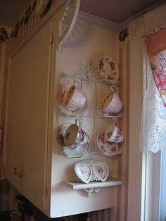 "Tea Cup Display ... Hmm, maybe I can find a way to keep this idea but rid it of ""old lady"""