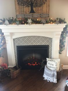 Fireplace redo, with Arabesque Tile! Pearl White Mantel