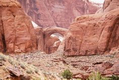 The Rainbow Bridge and surrounding canyon seen from the Navajo Mountain side