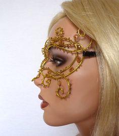 Yellow vine masquerade mask handmade by gringrimaceandsqueak