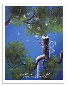 A fairy with her little pet fireflies.