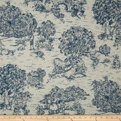 Quaker Ocean pastoral cotton fabric by the yard by MaterialMadness
