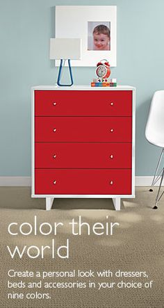 Like the idea to paint drawer fronts of existing dresser. Moda Collection - Room & Board