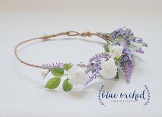 Silk Flower Crown - Lilac, Lavender, and Cream Cherry Blossoms, Flower Crown… Wildflower Bridal Bouquets, Silk Wedding Bouquets, Bridal Flowers, Faux Flowers, Flowers In Hair, Silk Flowers, Hair Wreaths, Flower Garlands, Flower Crowns