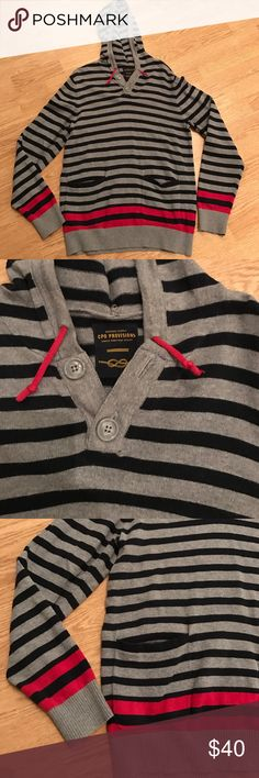 Urban Outfitters CPO Provisions men's gray hoodie Gray and navy striped hoodie with front pockets sleeves and waist have a strip of red size small Urban Outfitters Sweaters V-Neck
