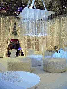 More than just Ceiling & Wall Decor you see here. Check it out Lounge Party, Wedding Lounge, Dream Wedding, Wedding Reception, Gentlemans Club, All White Party, Save On Crafts, Winter Wonderland Wedding, Party Themes