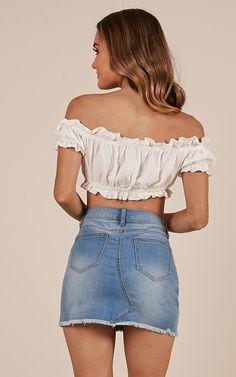 Youll Be Missed Denim Skirt In Mid Wash | Showpo Denim Skirt Outfits, Jeans Dress, Denim Skirts, Cute Skirts, Short Skirts, Summer Outfits, Cute Outfits, Girls In Mini Skirts, Mid Length Skirts