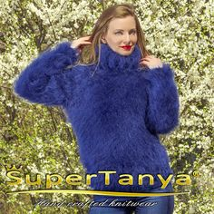 Blue hand knitted mohair sweater turtleneck jumper by