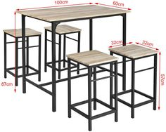 SoBuy® Bar Bar Table and 4 Stools, Home Kitchen Breakfast Bar Set Furniture Dining Set Welded Furniture, Iron Furniture, Steel Furniture, Bar Set Furniture, Kitchen Furniture, Dining Table Lighting, Bar Table Sets, 3 Piece Dining Set, Black Coffee Tables