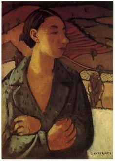 Felice Casorati, Figura con paesaggio (Figure with Landscape), 1940 on ArtStack #felice-casorati #art