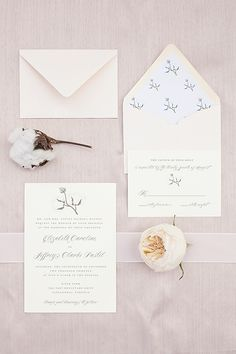 romantic wedding invitation suite with cotton accent and pastel hues #weddinginvitations #pastel #weddingchicks http://www.weddingchicks.com/2014/01/27/pastel-sheep-wedding-inspiration