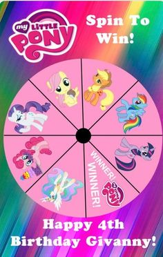 My Little Pony Birthday Party - Spin to Win Game