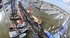 Le ponton du Vendée Globe vu du ciel, ou plutôt vu du haut du mât de Banque Populaire #VG2012 #sailing #voile  Photo : Joël Le Gall / Ouest-France