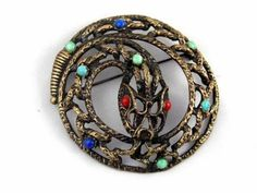 Large Vintage Coiled Jeweled Rattle Snake Pin