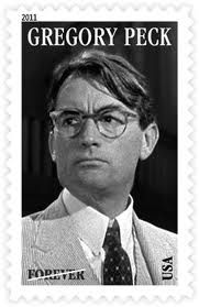 Gregory Peck as Atticus Finch, won a trio of Academy Awards, and the U.S. Postal Service's new stamp honoring Peck depicts him wearing glasses, as Finch.