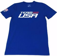 US Olympics Team USA Boys T-Shirt Size Large Blue 100% Polyester Short Sleeve