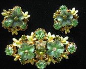 Green Austrian Crystal and Rhinestone Floral Demi Parure has Yellow and Green Enamel work In Sumptuous Design