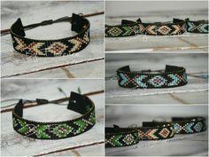 Native pattern bracelet - beads rocailles. In yellow, green and blue. (Also available in other colors). Native patroon, in geel groen en blauw. Ook verkrijgbaar in andere kleuren, ps € 14,95