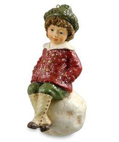 Shelley B Home and Holiday - Bethany Lowe Lucien on Snowball Christmas Ornament, $16.99 (http://shelleybhomeandholiday.com/bethany-lowe-lucien-on-snowball-christmas-ornament/)
