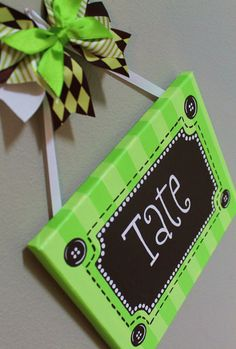 Lime Green and Brown Name Canvas by KraftinMommy