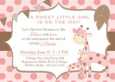 Giraffe Baby Shower Invitation Polka Dots Girl Pink Brown Invitation Invite Invitations Invites Digital Electronic File DIY Evite or Printable by AsYouWishCreations4u