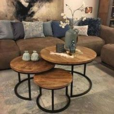 I love how these tables can slide into themselves. table home homedecor liv Home Living Room, Interior, Home N Decor, Living Room Decor Apartment, Home Decor, House Interior, Interior Design, Coffee Table, Living Room Table
