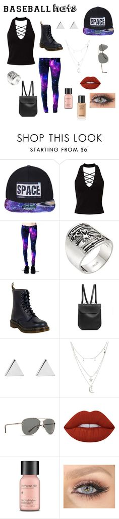 """Galaxy hats"" by gracelovesanimals ❤ liked on Polyvore featuring Miss Selfridge, Pamela Love, Dr. Martens, GRETCHEN, Jennifer Meyer Jewelry, Charlotte Russe, Billabong, Lime Crime, Perricone MD and baseballcap"