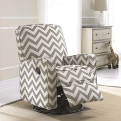 Crawford Taupe and Cream (Ivory) Fabric Modern Nursery Swivel Glider Recliner Chair