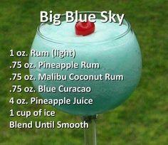 Big Blue Sky - blended runs, Curacao, and pineapple juice Liquor Drinks, Cocktail Drinks, Refreshing Drinks, Summer Drinks, Alcholic Drinks, Alcohol Drink Recipes, Vodka Recipes, Juicer Recipes, Salad Recipes