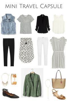 A great summer travel capsule. Mix and match outfits that all fit in your suitcase for a weekend in the city including what to wear on an airplane. Travel Outfit Spring, Summer Travel, Spring Outfits, Travel Outfits, Vacation Outfits, Outfit Summer, Travel Wardrobe, Capsule Wardrobe, Preppy Wardrobe