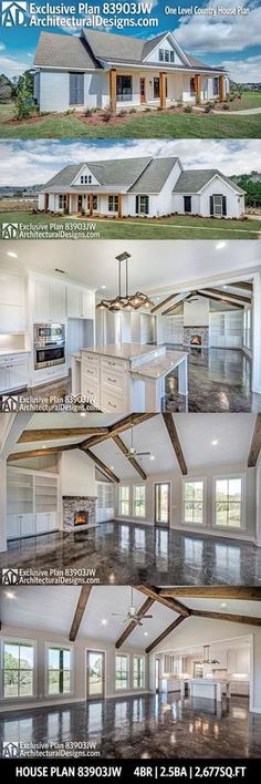 Couple of changes - 3rd garage bay, add game.movie.man cave above garage, change full bath to jack/jill, 1/2 bath to full bath next to fourth bedroom. Architectural Designs Exclusive House Plan 83903JW gives you one-level modern farmhouse living with 4 beds, 2.5 baths and over 2,600 sq. ft. of heated living space. Ready when you are. Where do YOU want to build? #83903JW #adhouseplans #architecturaldesigns