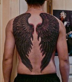 men's back wing tattoo | One of the very few feather wings I have found over the back of a man ...