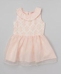 This Pink Lace Yoke Dress - Toddler & Girls by Paulinie is perfect! #zulilyfinds