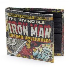 Marvel Iron Man Genuine Leather Slimfold Wallet ($28) ❤ liked on Polyvore featuring men's fashion, men's bags, men's wallets, mens leather wallet and mens wallets
