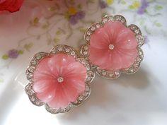 vtg 1980s KJL Kenneth Lane Earrings / lucite pink by luvmetwice, $38.00