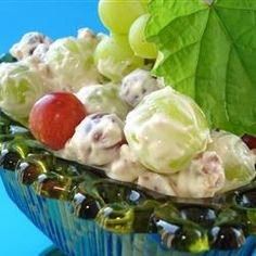 Green Grape Salad ~ This is a wonderful dessert salad that never failed to be a hit. Made the day before the brown sugar makes the sauce taste like caramel