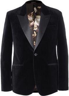 23481a2ed08a Alexander McQueen - Black Slim-Fit Velvet Tuxedo Jacket for Men - Lyst