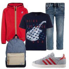 Look+adatto+per+il+tempo+libero+o+la+scuola.+La+felpa+rossa+con+zip+è+abbinata+ad+una+t-shirt+con+stampa+e+jeans+slim+fit.+Sneakers+basse+con+i+lacci+e+zainetto+completano+il+look.