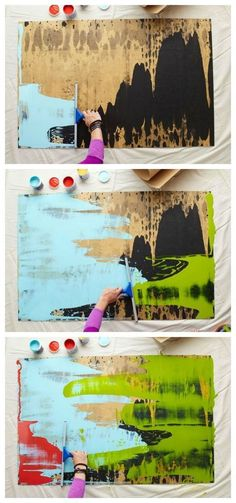 DIY squeegee to create abstract