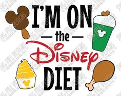 I'm On The Disney Diet Cut File Set in SVG, EPS, DXF, JPEG, and PNG