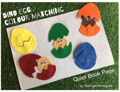 Dinosaur Egg Matching Quiet Page A fun quiet book page idea(no sew) for toddlers and preschoolers!