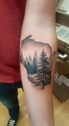 Wisconsin tattoo with woods scene. I like this idea for Missouri but with wildflowers Wisconsin Tattoos, Minnesota Tattoo, Life Tattoos, Tattoos For Guys, Cool Tattoos, Mens Tattoos, Holz Tattoo, Hiking Tattoo, State Tattoos
