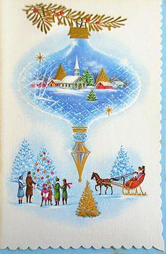Vintage Christmas Card - Idea for Spellbinders Christmas Tree Ornament dies Valentines Greetings, Holiday Greeting Cards, Vintage Greeting Cards, Xmas Cards, Christmas Greetings, Vintage Postcards, Christmas World, Old Christmas, Old Fashioned Christmas